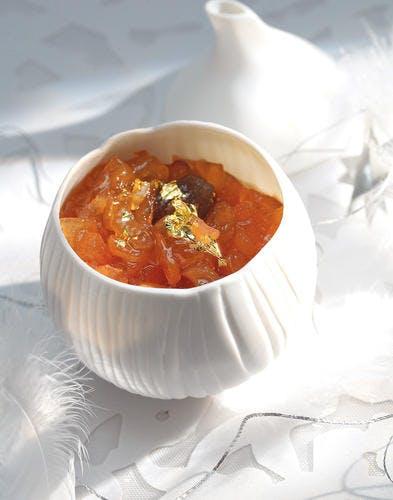 Confit de poires à la vanille et aux marrons glacés