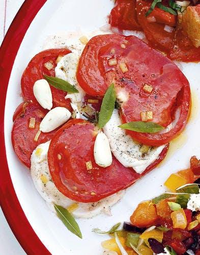 Tomates mozza à la vanille, verveine et citron