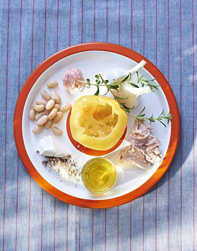 Tomate farcie au thon et aux cocos de Paimpol ingredients