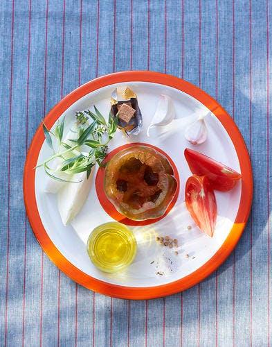 Tomate farcie à la tomate, risotto d'épeautre ingrédients
