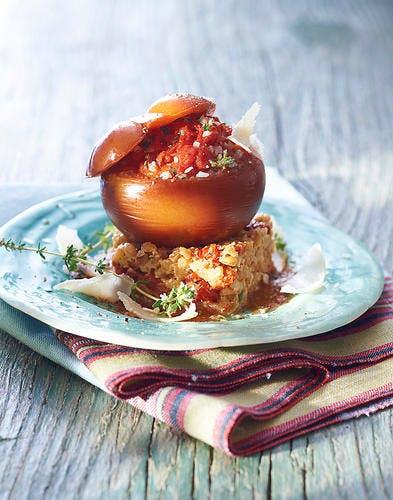 Tomate farcie à la tomate, risotto d'épeautre