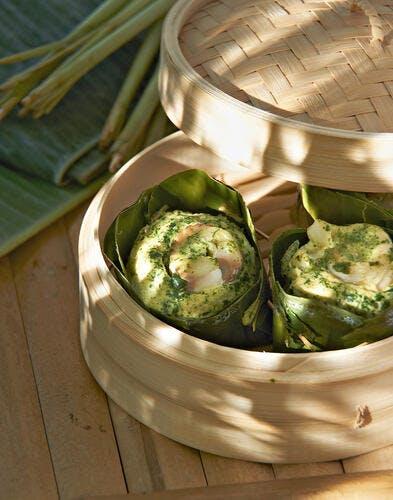 Flans de cabillaud vapeur au curry vert*