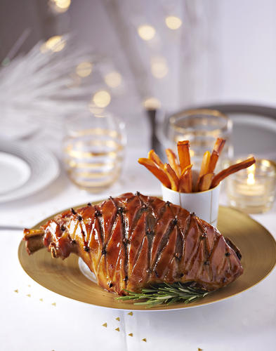 Jambon de Noël, frites de patate douce