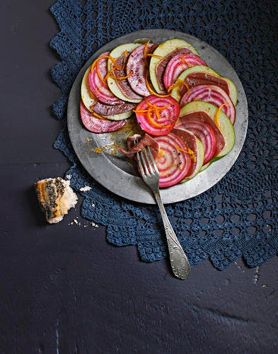 Carpaccio de betterave chioggia, pomme et magret