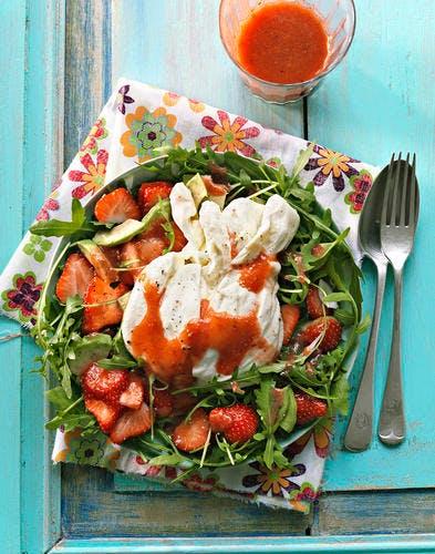 Salade burrata-fraises