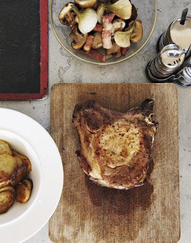 Côte de cochon, pommes de terre