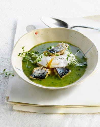 Soupe de cresson au maquereau et œuf mollet