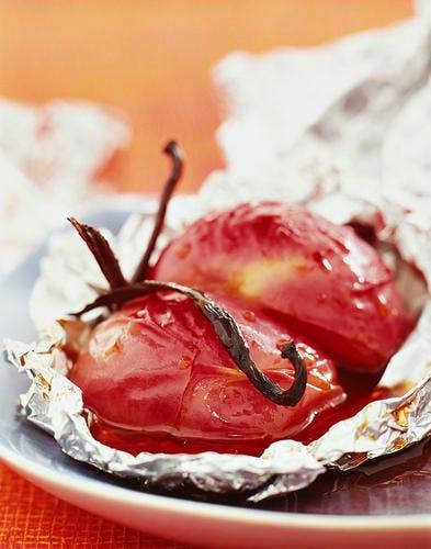 Papillotes de brugnons à la vanille