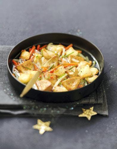 Bouillon de minuit aux ravioles et au foie gras