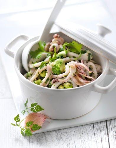 Cocotte de calamars et fèves