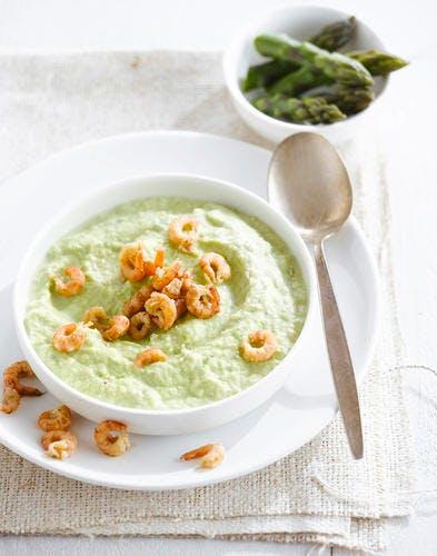 Mousse d'asperges vertes aux crevettes