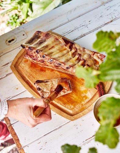 Travers de porc au jus d'orange et au miel