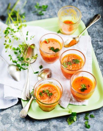 Petit gaspacho fraîcheur de poivron et tomate