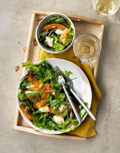Salade de potiron rôti au chèvre