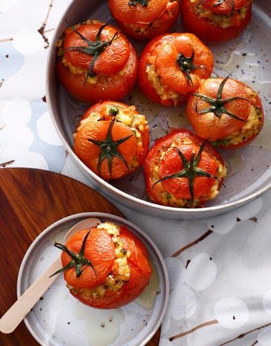 Tomates au four farcies au risotto