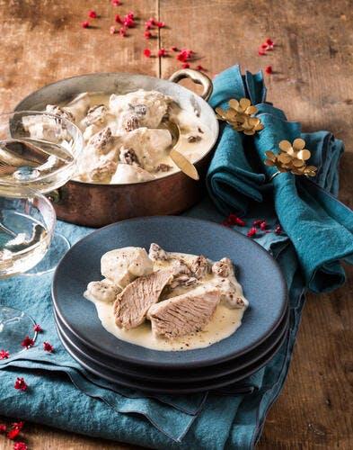 Blanquette de veau aux morilles et vin jaune