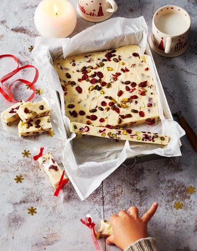 Fudge aux cranberries et pistaches