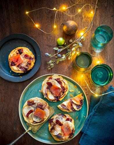 Tartelettes tatin au navet et jambon ibérique