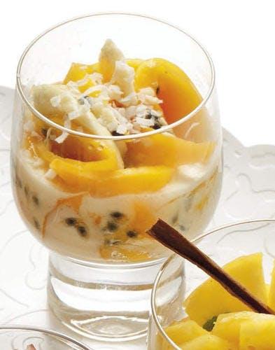 Mangue-banane-passion, crème à la vanille