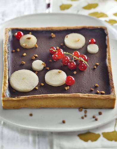 Tarte au chocolat et poires