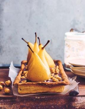 Tarte aux poires, chocolat et praliné