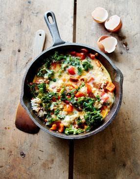Tortilla au riz, légumes et chorizo