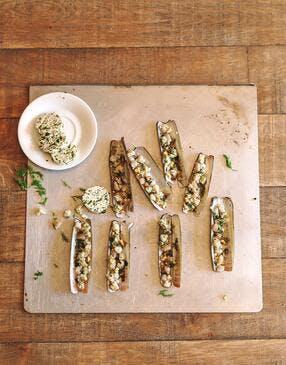 Couteaux rôtis au beurre d'algues