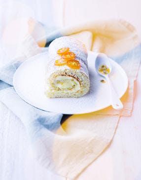 Bûche roulée fruits de la passion et kumquats