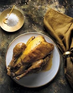 Chapon de pintade farci au foie gras