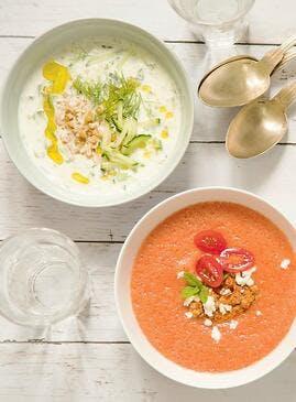Soupe givrée de melon, tomates cerises et feta