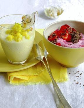 Crème de mangue et mousse de fraise