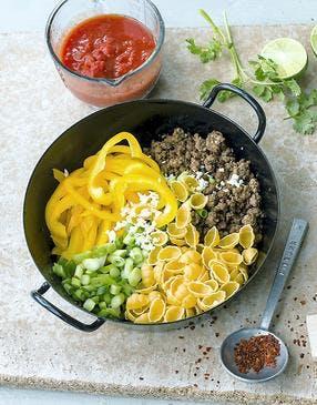 One pot pasta au boeuf et poivrons