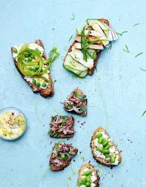 Bruschettas aux légumes verts