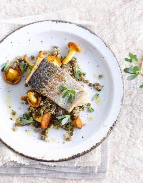 Pavé de saumon, quinoa, lentilles et girolles