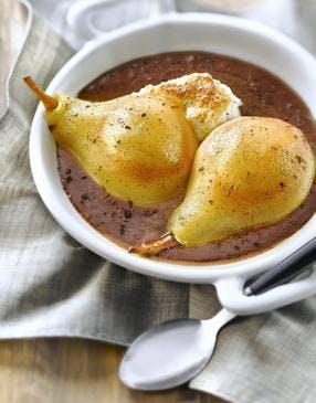 Gratin meringué poire-chocolat