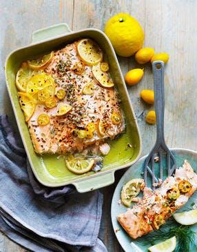 Pièce de saumon au citron, kumquats et fenouil