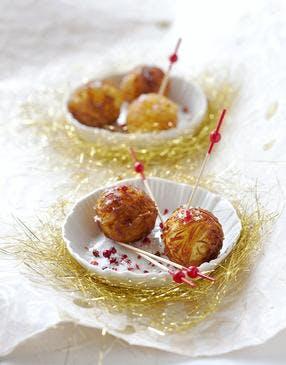 Nids de pomme de terre au coeur de foie gras