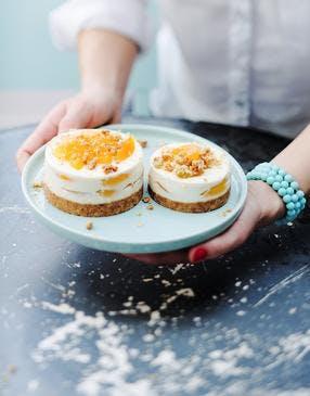 Cheesecakes aux abricots et crumble d'avoine