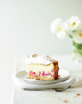 Cheesecake meringué à la rhubarbe