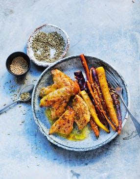 Poulet et carottes caramélisés aux graines de moutarde et fenouil