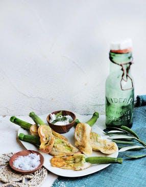 Beignets de fleurs de courgettes au mascarpone