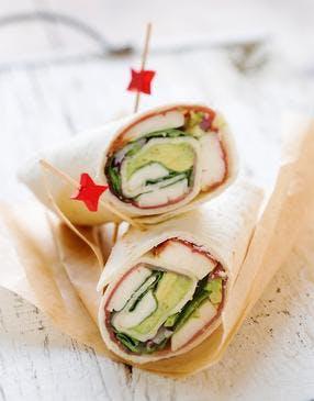 Wraps sandwich jambon et épinards
