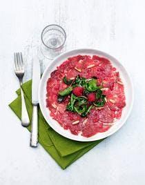 Carpaccio de bœuf au vinaigre de framboise
