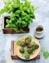 Falafels au sésame, épinards miel-citron
