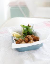 Pesto menthe-roquette-amande et nuggets de poisson