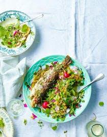 Truite grillée, salade de pourpier aux fèves et radis