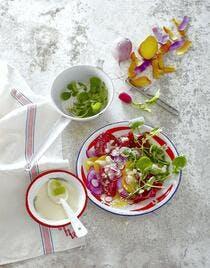Salade de betteraves, radis et bresaola