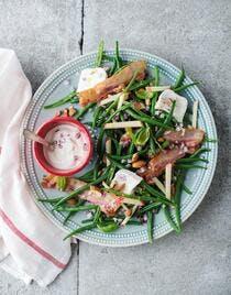 Salade de haricots verts au chèvre et bacon