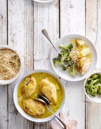 Curry de poulet, riz aux brocolis