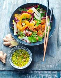 Salade de saumon mariné aux clémentines, radicchio di treviso, fenouil et gingembre